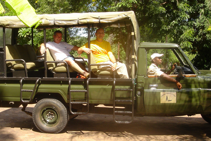 Andrew Goldman and Carlo Iori in Safari Vehicle, Chobe Safari Lodge, Kasane, Botswana