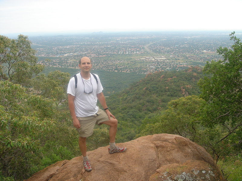Andrew Goldman on top of Mount Kgale with Gaborone in the background, Mt. Kgale, Gaborone, Botswana