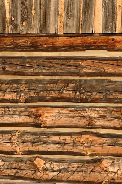 Rough Cut Log Cabin Wall II