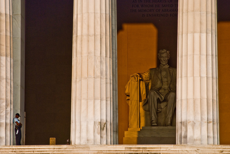 Title: Standing Guard<br /> Date: September 2008<br /> Lincoln Memorial at sunrise.