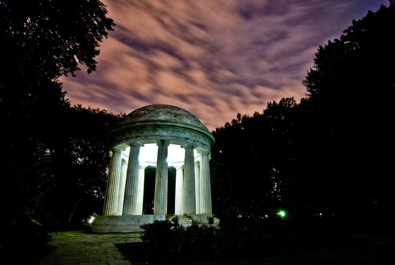 Title: Fire Sky<br /> Date: September 2008<br /> Long exposure of the DC WWI Memorial at night.