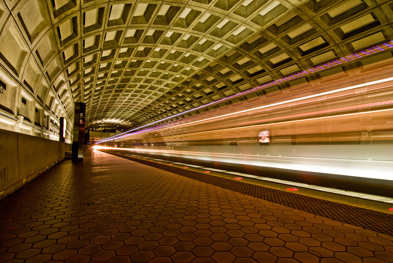 Title: Ludicrous Speed<br /> Date: September 2008<br /> Two trains arriving in the Smithsonian Metro Station.