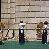 Title: Three Targets, Three Archers<br /> Date: April 2010<br /> Three archers practicing tradition Japanese archery, kyudo, at the Sakura Matsuri Street Festival in DC.