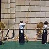 Title: Three Targets, Three Archers<br /> Date: April 2010<br /> Three archers practicing tradition Japanese archery, kyudo, at the Sakura Matsuri Street Festival in DC.