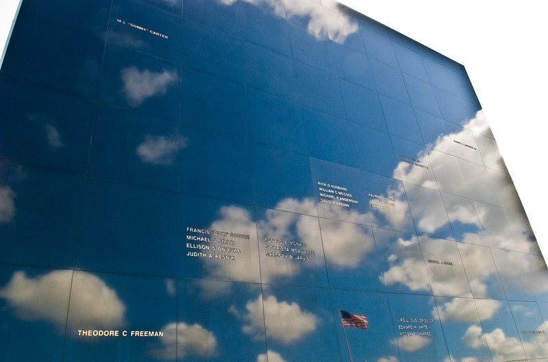Title: Space Mirror Memorial<br /> Date: October 2008<br /> The Space Mirror, a memorial to all the astronauts who died in the line of duty, reflects the sky at Kennedy Space Center in Florida.