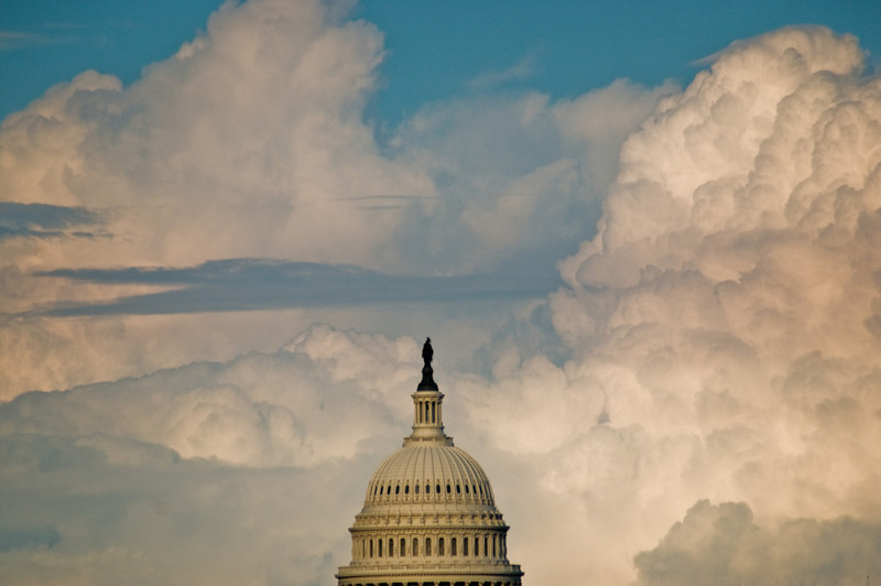 Title: Cloud City's Cousin<br /> Date: July 2010<br /> The United States Capitol Building, from a far, with clouds behind it.