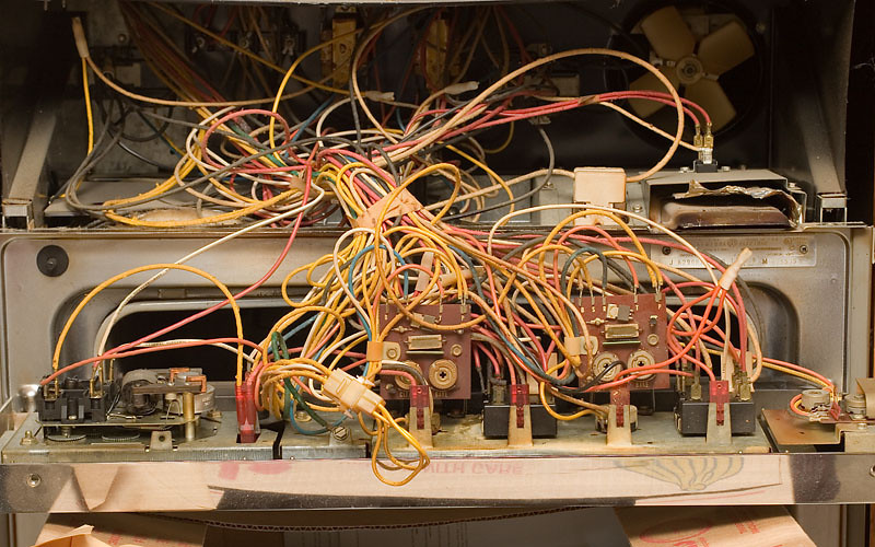 Original double wall oven.  Replaced a temp probe in the top oven.  What a spaghetti mess.