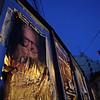 Patrimoine culturel vivant. Le plus grand acteur roumain sur un affichage ephemere dans la Rue Italienne. Sept. 2009