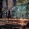 """""""Danger d' ecroulement !""""<br /> Alexandru Tomescu jouant a son Stradivarius devant une maison-monument menee vers la demolition par son proprietaire, Blvd Lascar Catargiu. Action de la Societe Civile, juin 2009."""