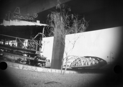 I went out with the new pinhole and tried a 2:00 exposure with a #2 printing filter over the pinhole to see how it would affect the image.  The scan doesn't do this justice at all...