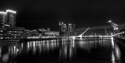 BA 130  Puente de la Mujer (Woman's Bridge),  Night shot, black & white,Puerto Madero district.  All streets named after women.