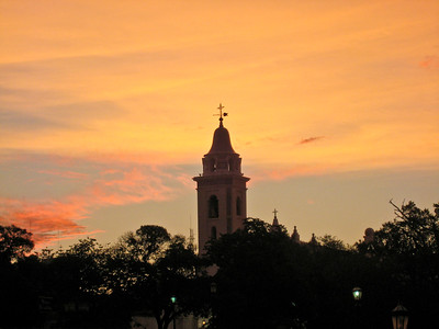 BA153.   Claustros del Pilar Church (Basilica de Nuestra Senora del Pilar). Photographed from Recoleta Park at sunset.