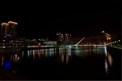 BA131  Puente de la Mujer (Woman's Bridge), Night Time, Puerto Madero district.  All streets named after women.