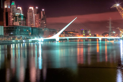 BA 132  Puente de la Mujer (Woman's Bridge), Night time, Puerto Madero district.  All streets named after women.