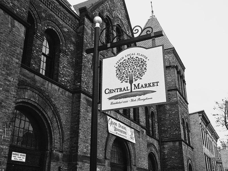 Central Market Street Sign, B&W
