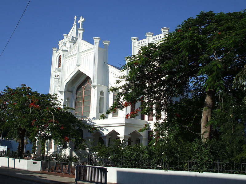 Bright white church