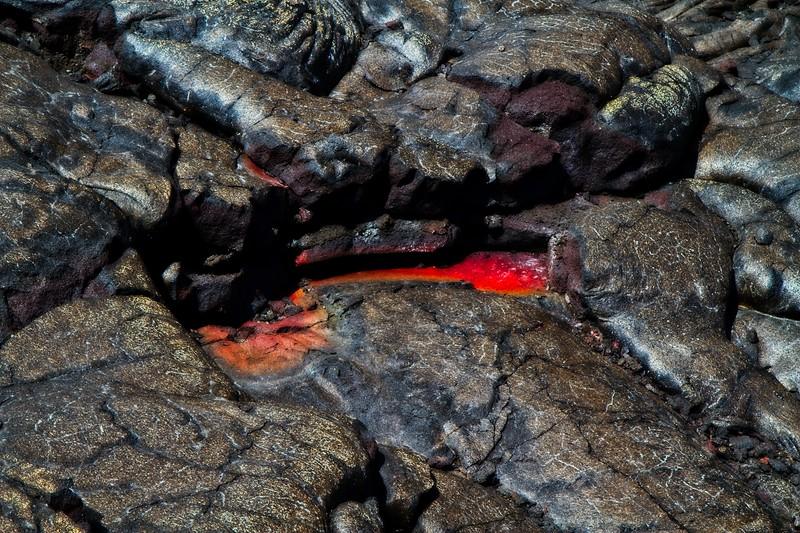 Pahoehoe basalt. Hawai`i Island.<br /> Photo © Carl Clark