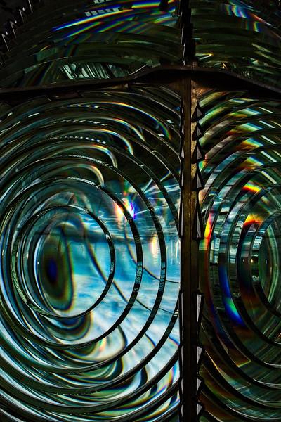 Detail from second order Fresnel lens, Cape Blanco Lighthouse, Oregon.<br /> © Cindy Clark