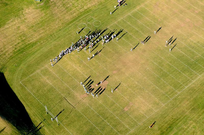 Aerial Photo of Montana Tech Football Team Practicing Butte Montana
