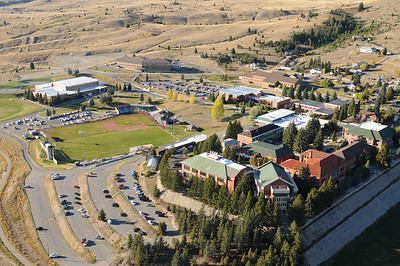 Aerial Photo of Montana Tech Campus & Football Stadium Butte Montana