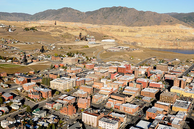 Aerial Photo View of Downtown Butte Montana with the Berkeley Pit in the background