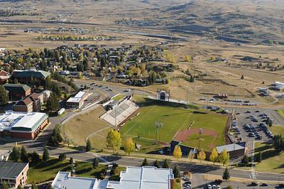 Aerial Photo of Montana Tech Football Stadium Butte Montana