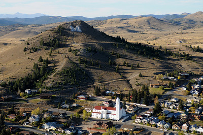 "Aerial Photo View Church and the ""M"" by Butte Montana"