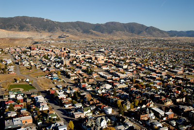 Aerial Photo View of Downtown Butte Montana