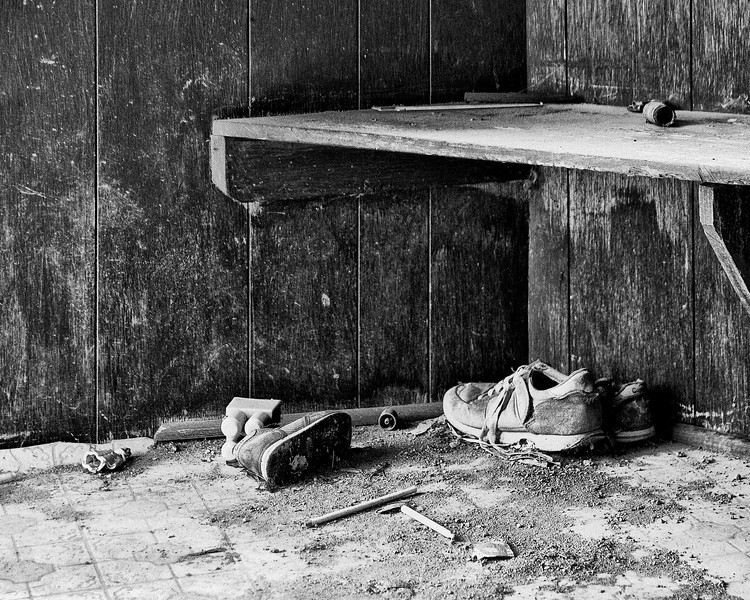 This image was taken just inside a doorway of an abandoned house. Probably my favorite photo that I had taken while at this location.<br /> <br /> Although taken in colour, I saw it in b&w in my mind so I converted it to black and white using Nik Software's Silver Efex Pro.