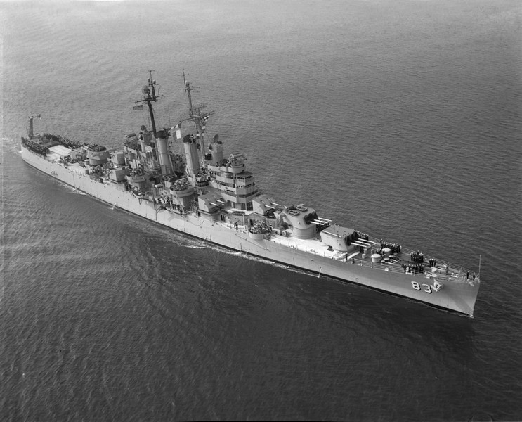 USS Manchester (CL-83)<br /> <br /> Date: Unknown<br /> Location: Either San Francisco or Long Beach<br /> Source: Nobe Smith - Atlantic Fleet Sales