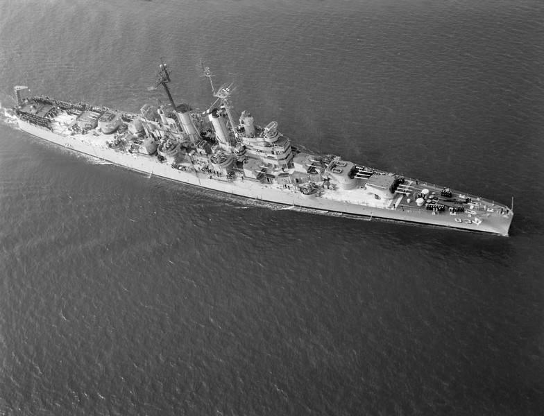 USS Manchester (CL-83)<br /> <br /> Date: 1953<br /> Location: Either San Francisco or Long Beach<br /> Source: Nobe Smith - Atlantic Fleet Sales