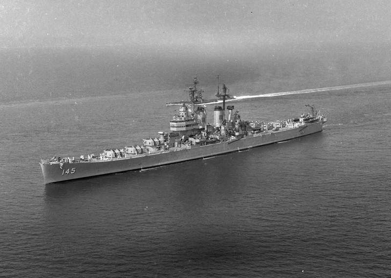 USS Roanoke (CL-145)<br /> <br /> Date: June 20 1955<br /> Location: Hampton Roads (?)<br /> Source: Nobe Smith - Atlantic Fleet Sales