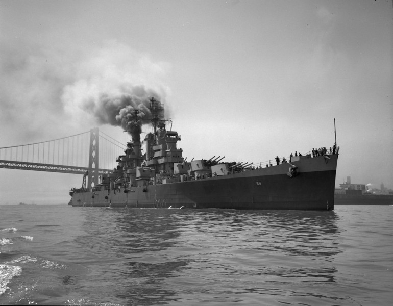 USS Miami (CL-89)<br /> <br /> Date: Possibly May 24 1945 returning from Pacific.<br /> Location: San Francisco Bay<br /> Source: Nobe Smith - Atlantic Fleet Sales