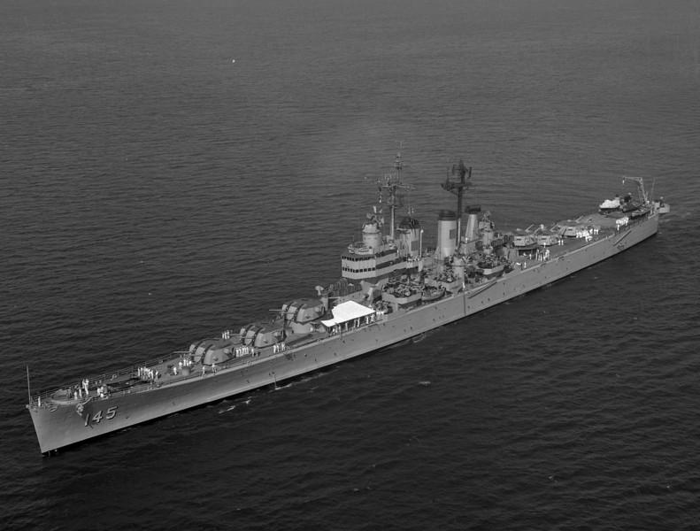 USS Roanoke (CL-145)<br /> <br /> Date: July 3 1957<br /> Location: Long Beach CA<br /> Source: Nobe Smith - Atlantic Fleet Sales