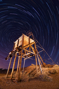 Virginia City Headframe Wide Angle with Star Trails