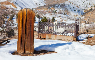 Virginia City Cemetary Old Wooden Head Stone with Soft Background
