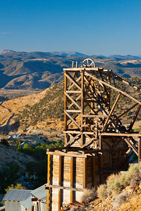 Gold Hill Nevada Mine Hoist in Early Morning Light