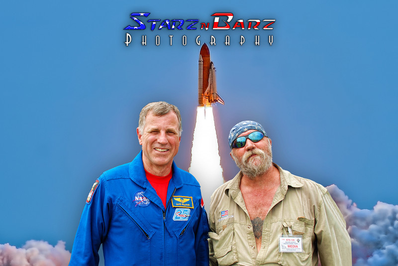 A photo of STS-135 Space shuttle Atlantis last launch is used as background for this photo of Astronaut Dave Williams and myself.