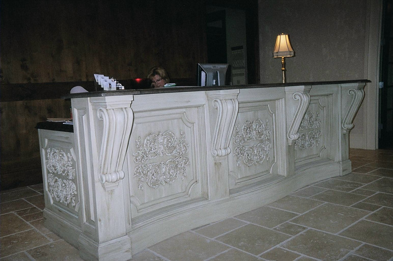 Custom Reception Desk wtih appliques and brackets