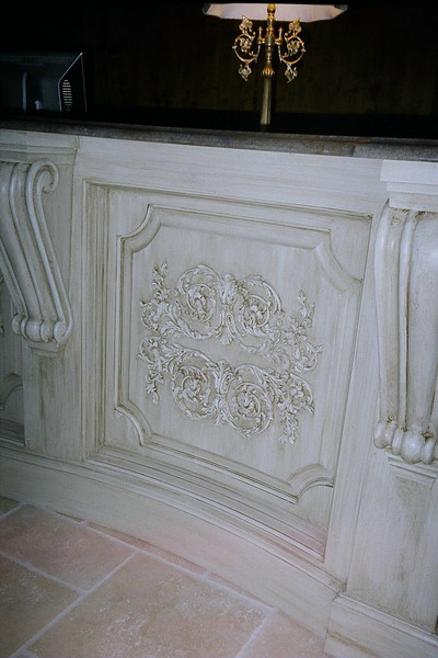 Close-up view of applique panel on reception desk