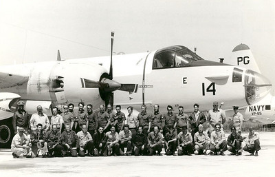 PATROL SQUADRON 65 (VP-65) GROUP SHOT NAS Pt Mugu, California  This is a group shot of my squadron taken in front of one of our Lockheed SP2H Neptunes. That's me, fifth from the right in the back row, with my buddy Don Huiatt on my right. We'll see him a little later on in the album.