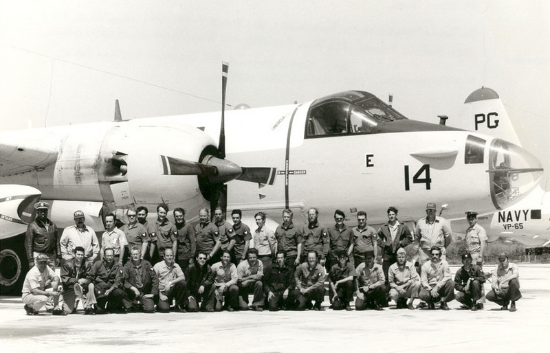 PATROL SQUADRON 65 (VP-65) GROUP SHOT<br /> NAS Pt Mugu, California<br /> <br /> This is a group shot of my squadron taken in front of one of our Lockheed SP2H Neptunes. That's me, fifth from the right in the back row, with my buddy Don Huiatt on my right. We'll see him a little later on in the album.