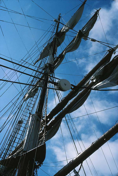 <I>STAR OF INDIA</I> RIGGING <i>Euterpe</i> began as a full-rigged ship and would remain so until 1901, when the Alaska Packers Association rigged her down to a barque, her present rig. She began her sailing life with two near-disastrous voyages to India. On her first trip she suffered a collision and a mutiny. On her second trip, a cyclone caught <i>Euterpe</i> in the Bay of Bengal, and with her topmasts cut away, she barely made port. Shortly afterward, her first captain died on board and was buried at sea.