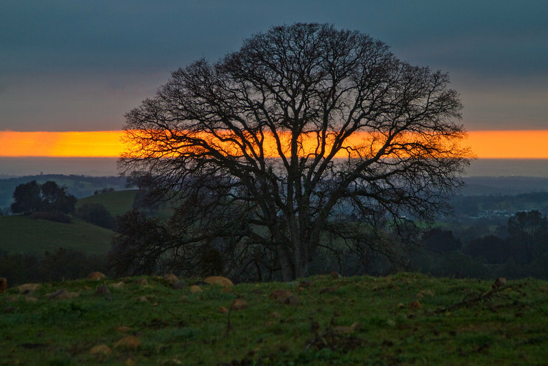 A band of sunset near Fiddletown in the Sierra foothills.<br /> Photo © Carl Clark