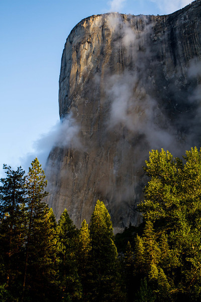 El Capitan takes in the first morning sunrays, Yosemite Valley.<br /> Photo © Carl Clark