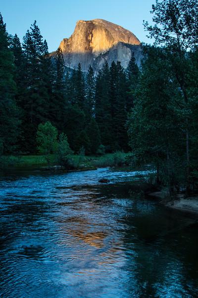 Half Dome over the Merced River, Yosemite Valley.<br /> Photo © Carl Clark