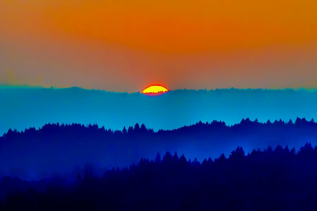 Sunset  over Bonny Doon Ridge