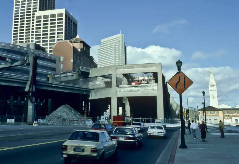 Lawrence Ferlinghetti's long-standing dream was finally realized as San Francisco's Embarcadero Freeway was demolished after the 1989 earthquake.<br /> Photo © Carl Clark