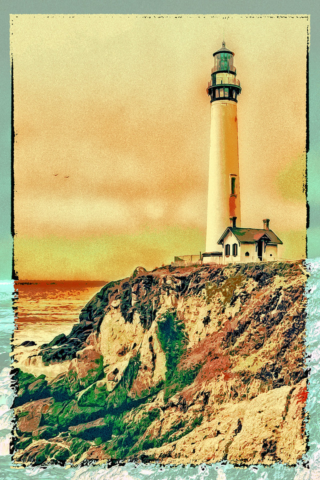 Pigeon Point Light House Edged Portrait