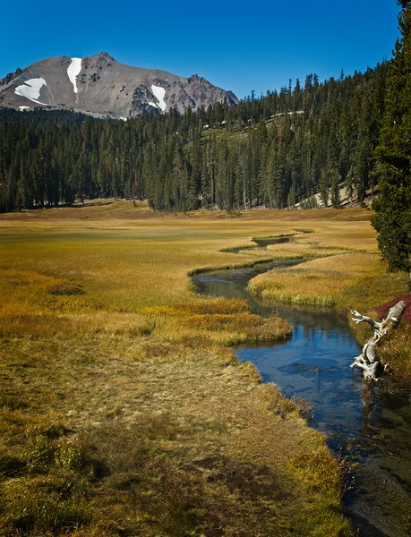 A stream wanders through a meadow under Lassen Volcano<br /> Photo © Cindy Clark